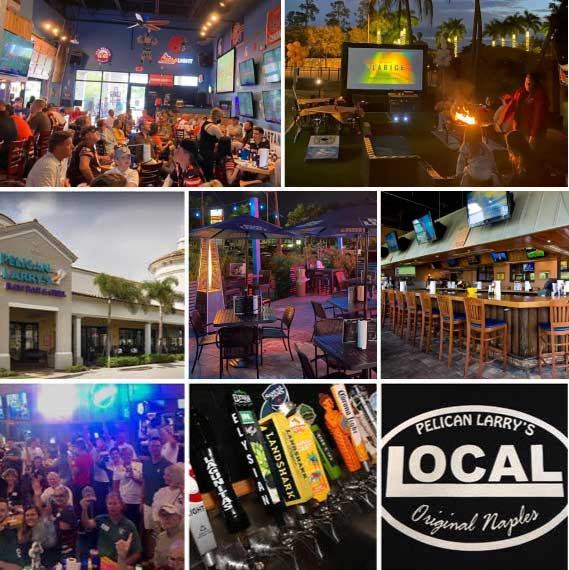 Collage of beer, bar and activities at Pelican Larry's in Naples, FL